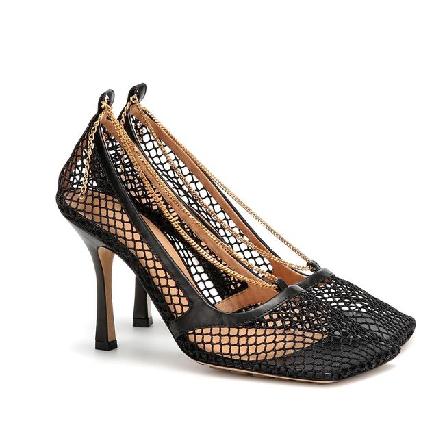 Bottega Veneta Black Net Mesh Leather Square Toe Chain Sandal Heel Pumps Size EU 38 (Approx. US 8) Regular (M, B) Bottega Veneta Black Net Mesh Leather Square Toe Chain Sandal Heel Pumps Size EU 38 (Approx. US 8) Regular (M, B) Image 1