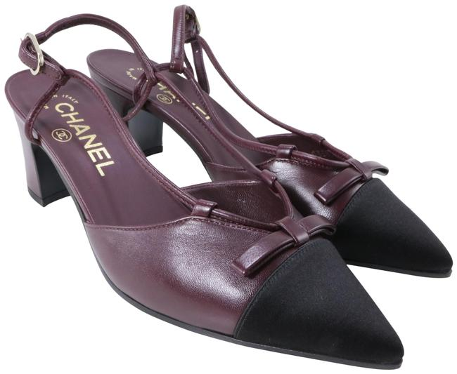 Item - Multicolor Slings 18a Burgundy Bow Satin Toecap Sling Back Classic Heels C299 Pumps Size EU 36 (Approx. US 6) Wide (C, D)