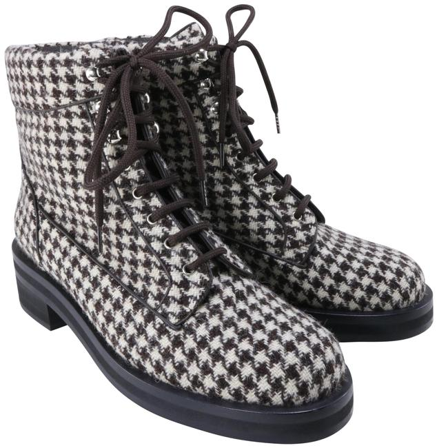 Item - Brown Tan Houndstooth Tweed Lace Up Winter C304 Boots/Booties Size EU 40.5 (Approx. US 10.5) Regular (M, B)