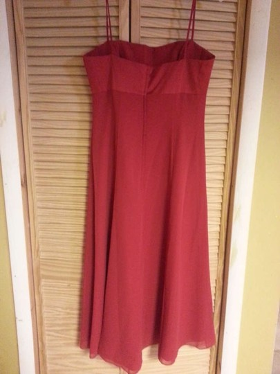 Alfred Angelo Cherry Satin & Chiffon 6310 Formal Bridesmaid/Mob Dress Size 12 (L)