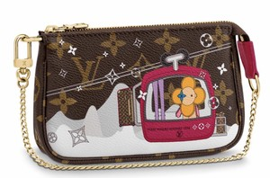 Louis Vuitton Classic Leather Monogram Patches Clutch Wristlet in Brown