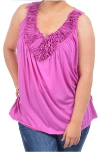 Lane Bryant Ruffled 1x 14/16 Top Lilac