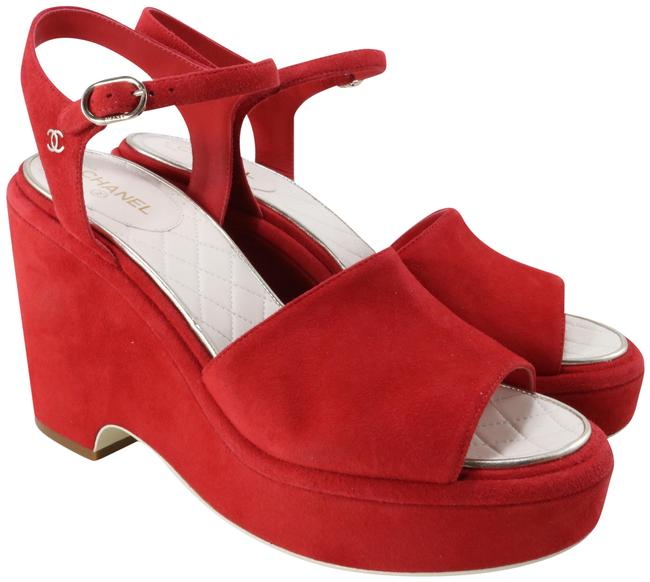 Item - Red 18s Kid Suede Quilted Insole Platform Wedge Heels C320 Sandals Size EU 41 (Approx. US 11) Regular (M, B)