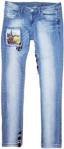 Custo Barcelona Plaid Patch Patchwork Big Ben Double Decker Bus Skinny Jeans-Distressed