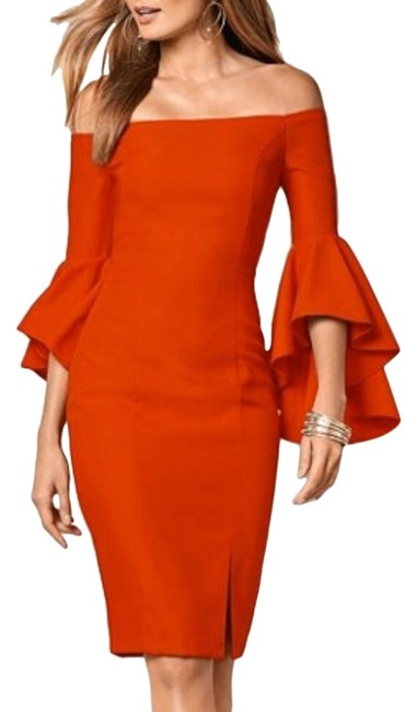 Item - Red Cascade Bell Sleeves Nwot Mid-length Cocktail Dress Size 12 (L)
