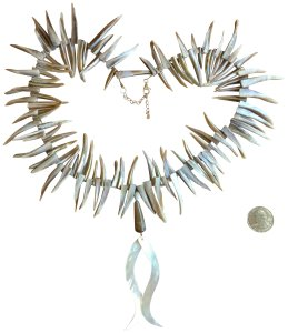 Barse Warrior Girl Necklace - Mother of Pearl