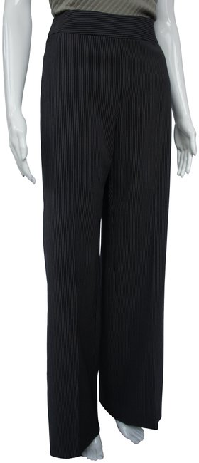 Item - Gray Silk and Wool Blend Pinstripe Palazzo Pants Size 12 (L, 32, 33)
