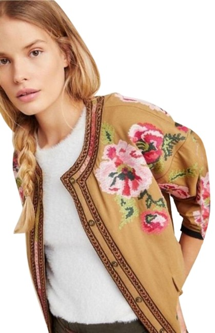 Item - Brown Pink Maeve Womens S Needlepoint Floral Bomber Honey Jacket Size 4 (S)