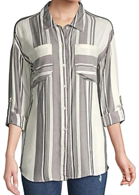 Item - Black/Cream Printed High Low Shirt Button-down Top Size 4 (S)