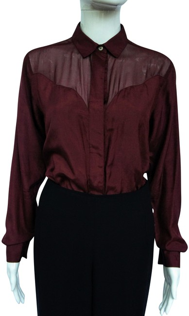 Item - Burgundy Red Viva Silk Western Style Button-down Top Size 12 (L)