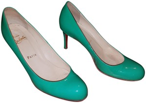 Christian Louboutin Patent Leather Party Round Toe Classic Green Pumps