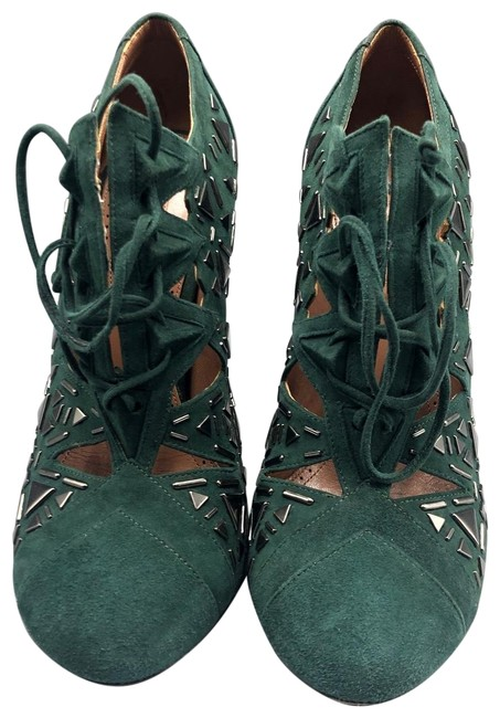 Item - Dark Green Suede Studded Lace Boots/Booties Size EU 38 (Approx. US 8) Regular (M, B)