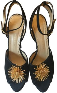 Charlotte Olympia Sexy Stiletto Outfit Standout Black suede with gold ornament Platforms