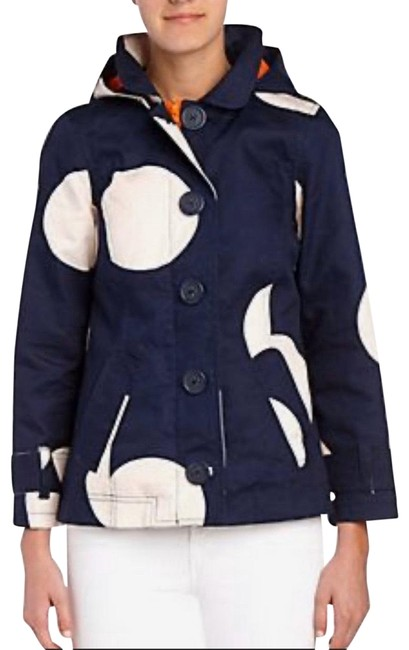 Item - Blue White Orange Short Rainy Day Mac Coat Size Petite 6 (S)