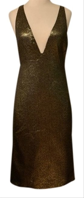 Item - Gold Dvf Mid-length Cocktail Dress Size 2 (XS)