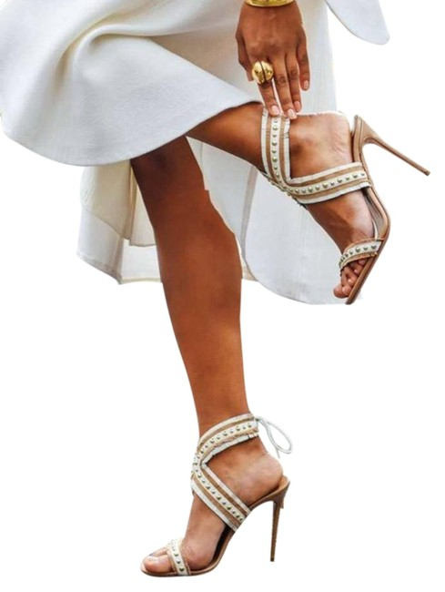 Item - White and Tan Latin Lover Stud Sandal Platforms Size EU 40 (Approx. US 10) Narrow (Aa, N)