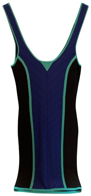 Item - Black Blue & Teal Short Night Out Dress Size 4 (S)