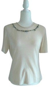City Girl by Nancy Bolen Tropical Vintage Embellished T-shirt Top Cream, Turquoise