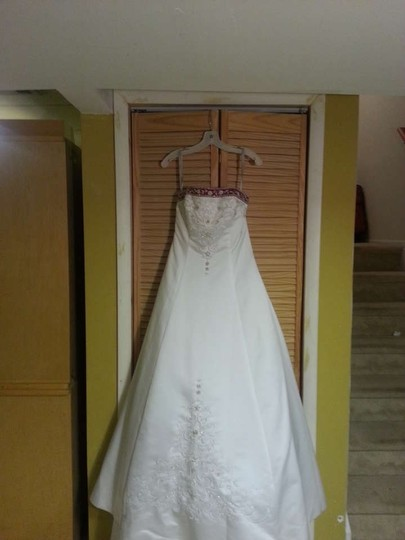 Alfred Angelo White Satin 1516 Formal Wedding Dress Size 10 (M)