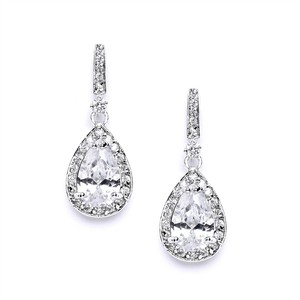 Mariell Classic Cubic Zirconia Bridal Earrings With Framed Pear Drops 4058e-s