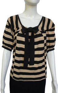 Tufi Duek Striped Shirt Brown Sailor Shirt Top Taupe, black