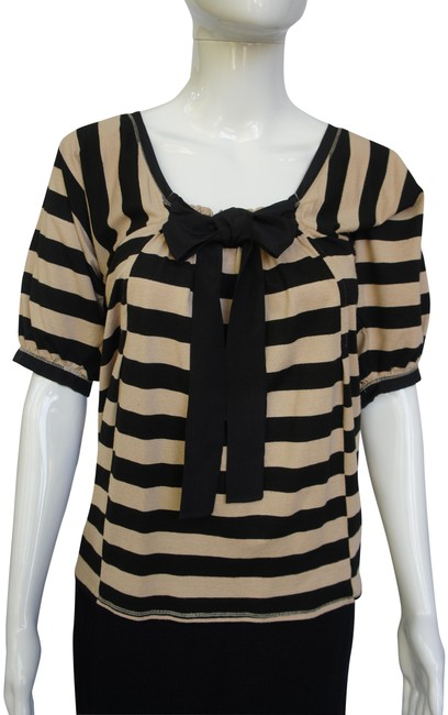 Item - Taupe Black Silk Bow and Short Bell Sleeves Striped Sailor Blouse Size 8 (M)