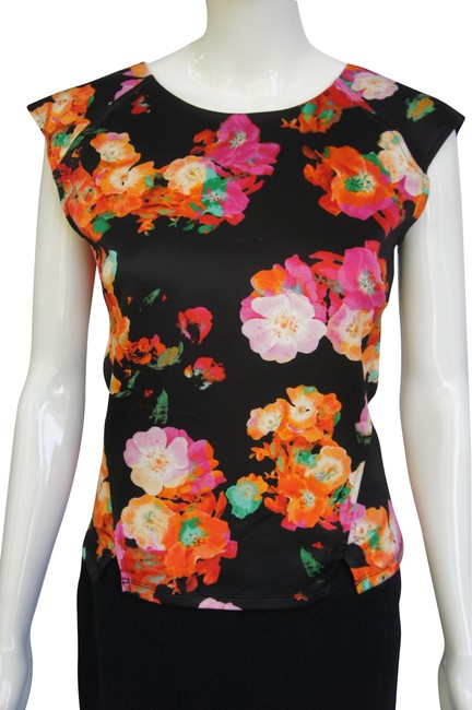 Item - Black Orange Pink Structured Floral Sleeveless Blouse Size 2 (XS)