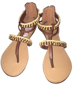 Nicole Tan mixed brown beads Sandals