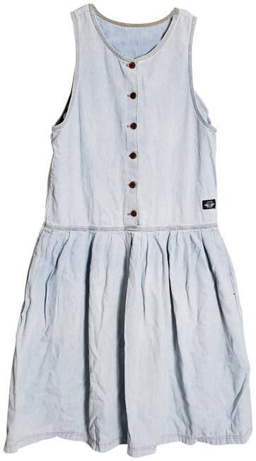 Item - Blue Womens Vintage Denim Jean with Half Button Up Mid-length Short Casual Dress Size 8 (M)