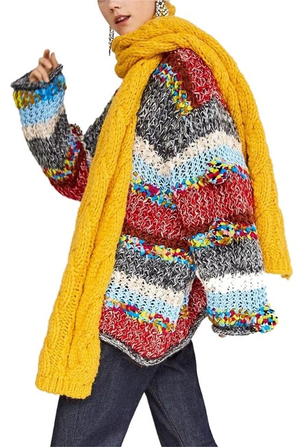 Item - Yellow Chenille Soft Knit Winter One Size Oversized Scarf/Wrap