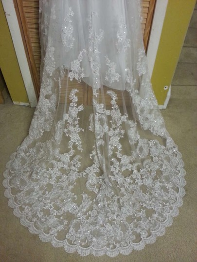 Alfred Angelo White Schiffli Lace Over Satin 1816 Formal Dress Size 8 (M)