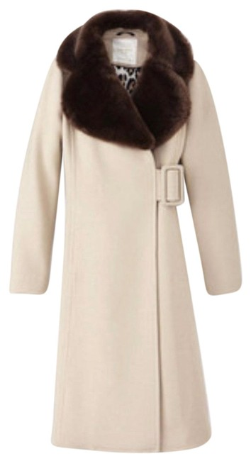 Item - Cream/ Brown Briella Collar Fur Faux Coat Size 0 (XS)