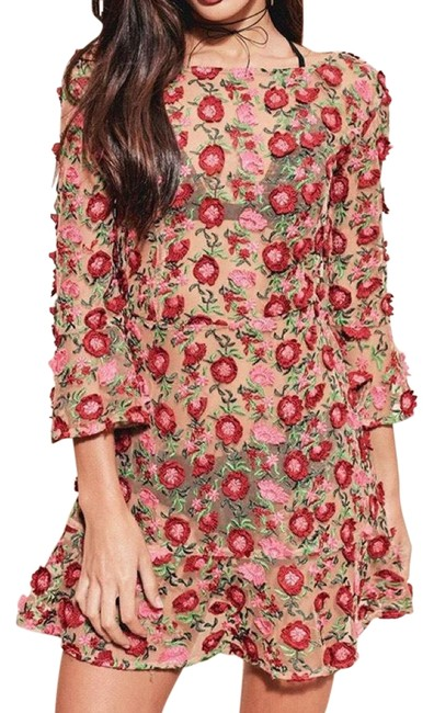 Item - Floral Red Amelia Swing Mini Short Casual Dress Size 4 (S)