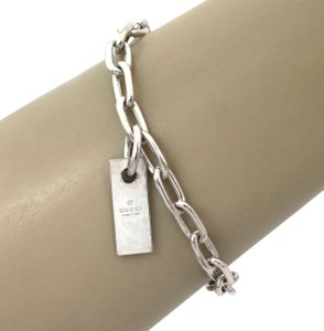 Gucci Bar Tag Charm Oval Chain Sterling Silver Link Bracelet