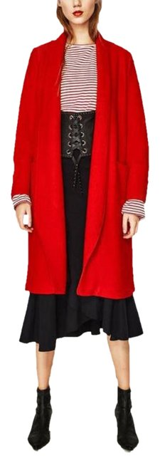 Item - Red XS Wool Blend Long Sleeve Open Coat Size 0 (XS)