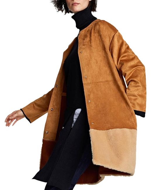 Item - Brown Faux Suede Light Weight Faux Trim Overcoat Coat Size 8 (M)