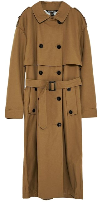 Item - Tan Double Breasted Long Belted Coat Size 8 (M)