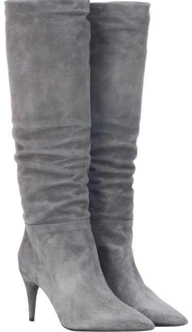 Item - Gray Nib: Suede Knee High Cone Heel Stiletto Boots/Booties Size EU 37.5 (Approx. US 7.5) Regular (M, B)