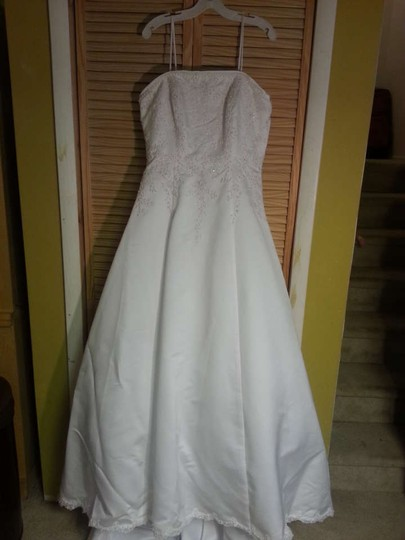 Alfred Angelo White Satin 1114 Formal Dress Size 16 (XL, Plus 0x)