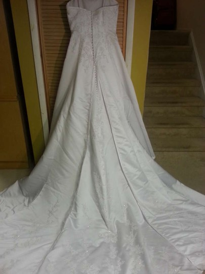 Alfred Angelo White Satin 1114 Formal Wedding Dress Size 16 (XL, Plus 0x)