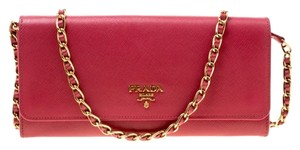 Prada Prada Pink Saffiano Metal Leather Wallet on Chain
