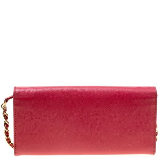 Prada Prada Pink Saffiano Metal Leather Wallet on Chain Image 1