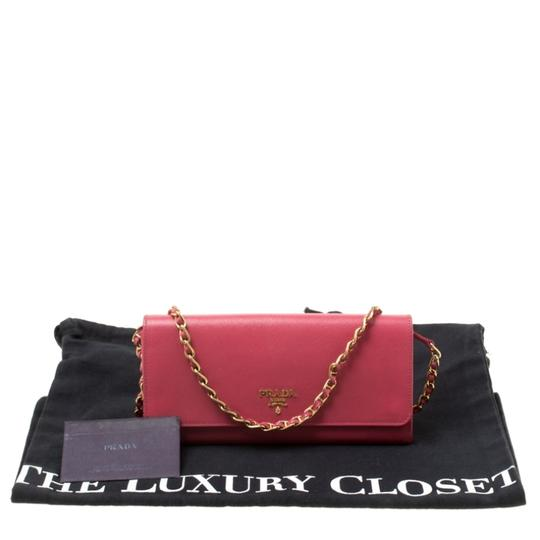 Prada Prada Pink Saffiano Metal Leather Wallet on Chain Image 10