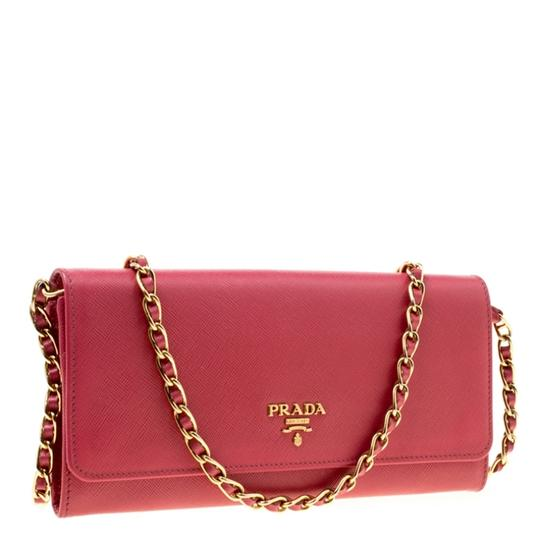 Prada Prada Pink Saffiano Metal Leather Wallet on Chain Image 3