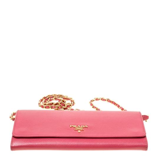 Prada Prada Pink Saffiano Metal Leather Wallet on Chain Image 4