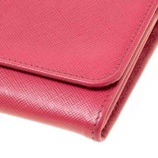 Prada Prada Pink Saffiano Metal Leather Wallet on Chain Image 8