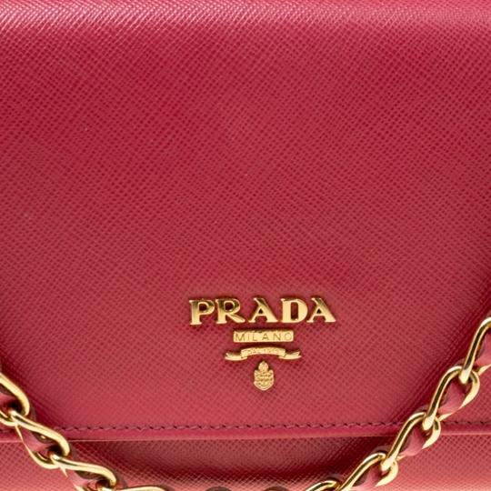 Prada Prada Pink Saffiano Metal Leather Wallet on Chain Image 9