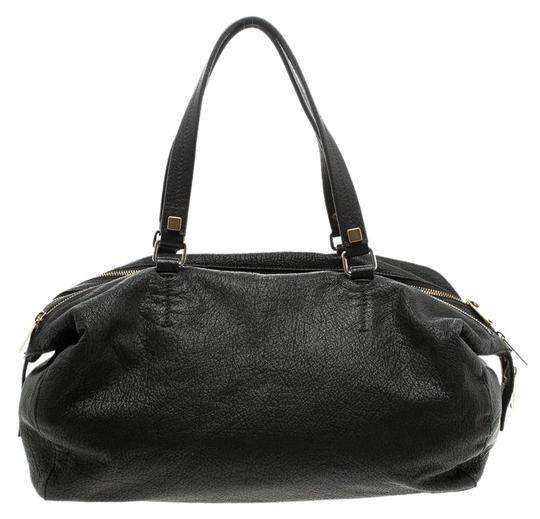 Céline Leather Fabric Satchel in Black Image 0