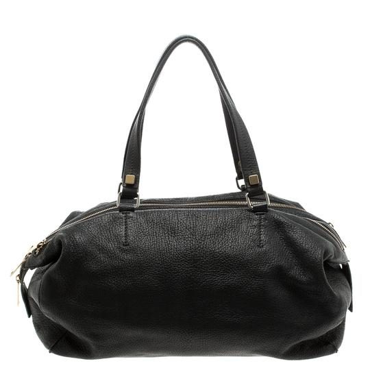 Céline Leather Fabric Satchel in Black Image 1