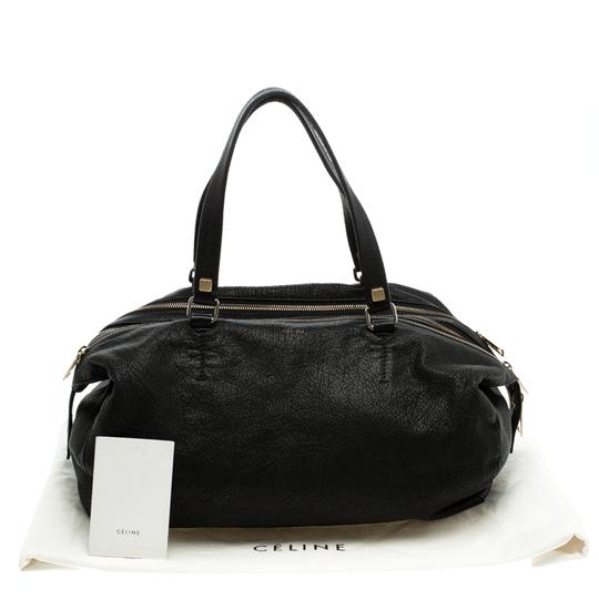 Céline Leather Fabric Satchel in Black Image 10